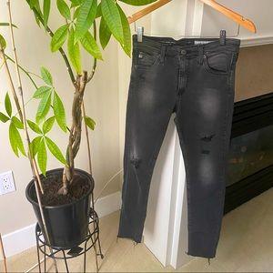 AG Faded Black Farrah High Rise Skinny Ankle Jeans